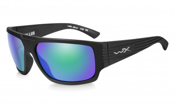 WileyX Vallus Polarisationsbrille Emerald Mirror Lens / Matte Black Frame