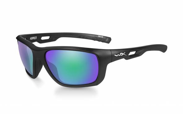 WileyX Aspect Polarisationsbrille Emerald Mirror Lens / Matte Black Frame