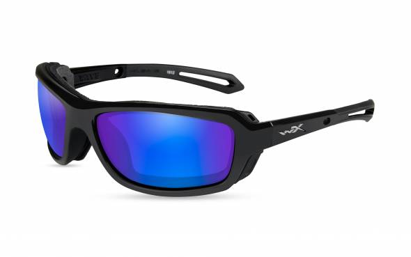 WileyX Wave Polarisationsbrille Blue Mirror Lens / Gloss Black Frame